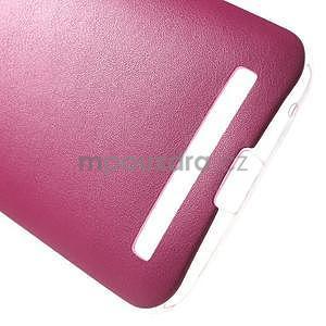 Gélový obal s jemným koženkovým plátem na Asus Zenfone 2 Laser ZE500KL  - růžový - 5
