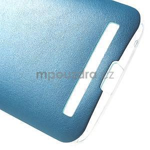Gélový obal s jemným koženkovým plátem pre Asus Zenfone 2 Laser ZE500KL - modrý - 5