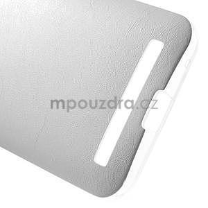 Gélový obal s jemným koženkovým plátem na Asus Zenfone 2 Laser ZE500KL - biely - 5