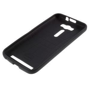 Gélový obal s koženkovým chrbtom na Asus Zenfone 2 Laser - lebky - 5