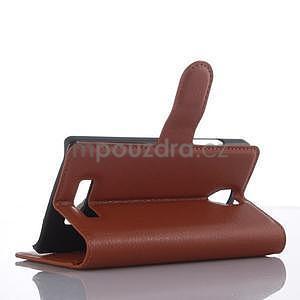 Peňaženkové puzdro pre mobil Lenovo A2010 - hnedé - 5