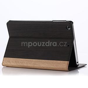 Koženkové puzdro s imitáciou dreva na iPad Mini 3, iPad Mini 2, iPad mini - tmavošedé - 5