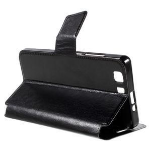 Peňaženkové PU kožené puzdro pre mobil Doogee X5 - čierne - 5