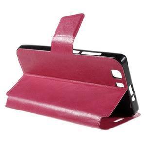 Peňaženkové PU kožené puzdro pre mobil Doogee X5 - rose - 5