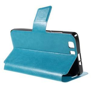 Peňaženkové PU kožené puzdro pre mobil Doogee X5 - modré - 5