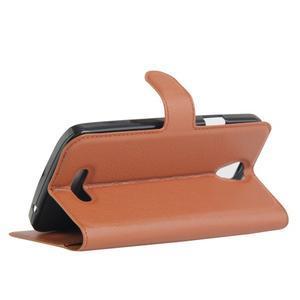 Peňaženkové puzdro pre mobil Doogee X6 - hnedé - 5
