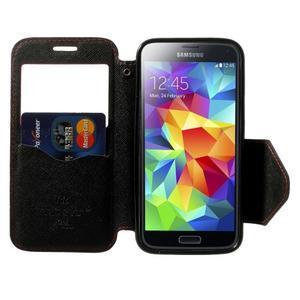 Pěněženkové pouzdro s okýnkem pro Samsung Galaxy S5 mini - červené - 5
