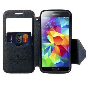 Pěněženkové pouzdro s okýnkem pro Samsung Galaxy S5 mini -  oranžové - 5