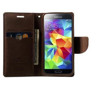 Diary PU kožené puzdro pre Samsung Galaxy S5 mini - čierne/hnedé - 5
