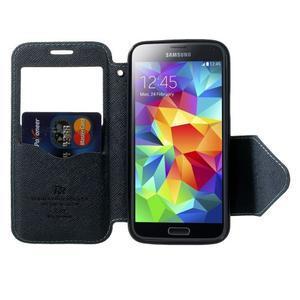 Pěněženkové pouzdro s okýnkem pro Samsung Galaxy S5 mini -  světlemodré - 5