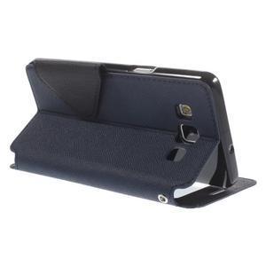 Stylové puzdro s okýnkem na Samsung Galaxy A5 - tmavo modré - 5