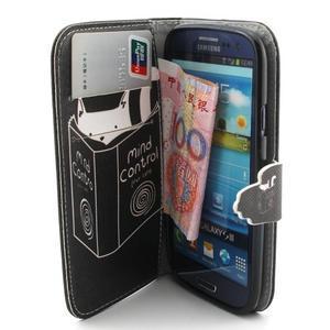 Peňaženkové puzdro pre mobil Samsung Galaxy S3 - mačička s knihou - 5