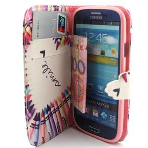 Peňaženkové puzdro na mobil Samsung Galaxy S3 - srdce z voskovek - 5