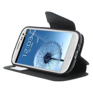 Peňaženkové puzdro s okýnkem pre Samsung Galaxy S3 / S III - čierné - 5
