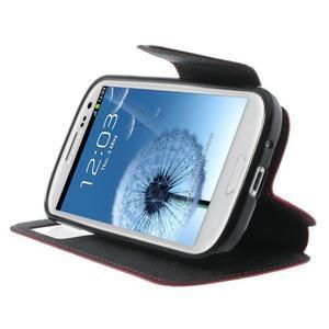 Peňaženkové puzdro s okýnkem pre Samsung Galaxy S3 / S III - červené - 5
