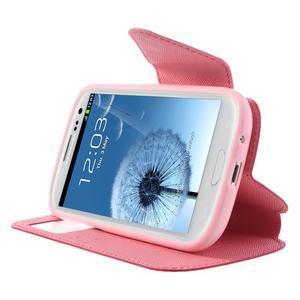 Peňaženkové puzdro s okýnkem pre Samsung Galaxy S3 / S III - rose - 5
