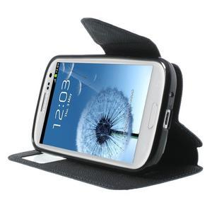 Peňaženkové puzdro s okýnkem pre Samsung Galaxy S3 / S III - tmavo modré - 5