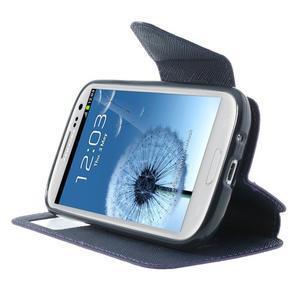 Peňaženkové puzdro s okýnkem pre Samsung Galaxy S3 / S III - fialové - 5