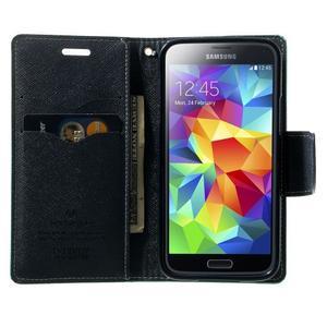 Diary PU kožené puzdro pre Samsung Galaxy S5 mini - azúrové - 5