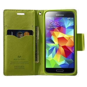 Diary PU kožené puzdro pre Samsung Galaxy S5 mini - tmavomodré - 5