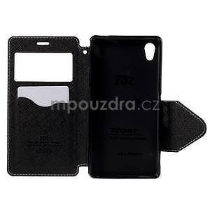 Peněženkové pouzdro s okýnkem pro Sony Xperia M4 Aqua - bílé - 5