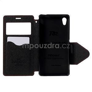 Peňaženkové puzdro s okienkom pre Sony Xperia M4 Aqua - červené - 5