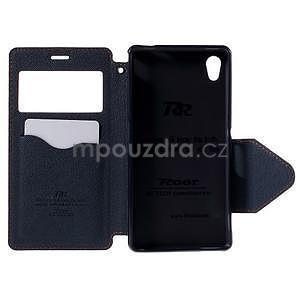 Peňaženkové puzdro s okienkom pre Sony Xperia M4 Aqua - oranžové - 5