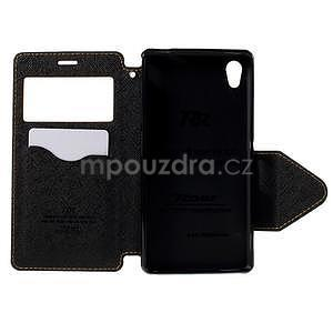 Peňaženkové puzdro s okienkom pre Sony Xperia M4 Aqua - žlté - 5