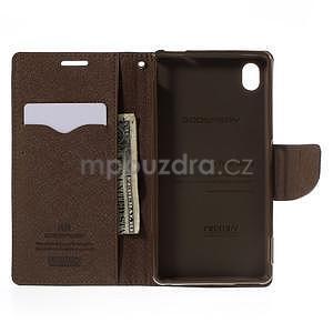 Ochranné puzdro pre Sony Xperia M4 Aqua - čierne/hnedé - 5