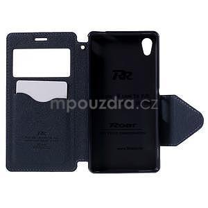 Peňaženkové puzdro s okienkom pre Sony Xperia M4 Aqua - fialové - 5