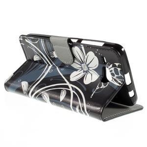 Nice koženkové puzdro pre mobil Acer Liquid Z520 - biele kvety - 5