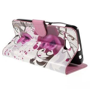 Nice koženkové puzdro pre mobil Acer Liquid Z520 - fialové kvety - 5