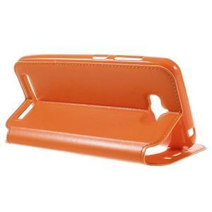 Luxusní puzdro s okienkom pre mobil Asus Zenfone Max - oranžové - 5
