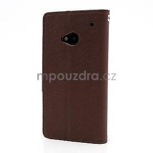 Peňaženkové kožené puzdro pre HTC One M7 - hnedé - 5