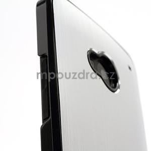 Broušený hliníkový plastový kryt na HTC One M7 - strieborný - 5