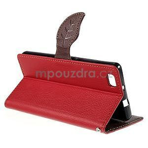 Zapínací PU kožené pouzdro na Huawei P8 Lite - červené - 5