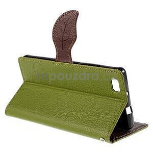 Zapínací PU kožené pouzdro na Huawei P8 Lite - zelené - 5