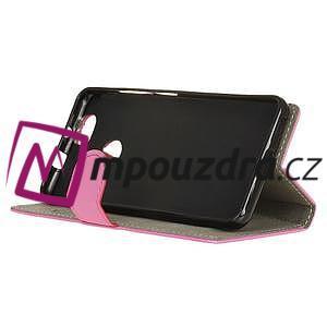 Wally PU kožené puzdro na mobil Huawei Nova - ružové - 5