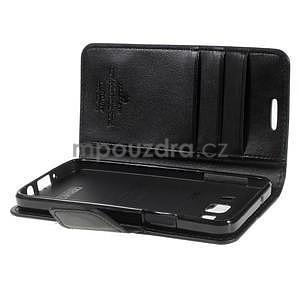 Čierné kožené peňaženkové puzdro pre Samsung Galaxy A3 - 5