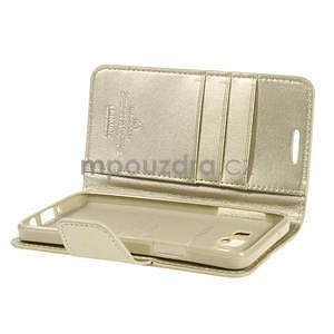 Zlaté kožené peňaženkové puzdro na Samsung Galaxy A3 - 5