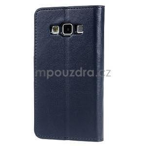 Tmavě modré kožené peňaženkové puzdro na Samsung Galaxy A3 - 5