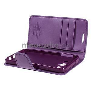Fialové kožené peňaženkové puzdro na Samsung Galaxy A3 - 5