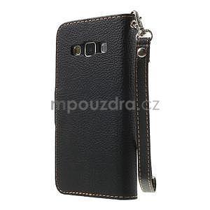 Čierné/hnedé kožené puzdro pre Samsung Galaxy A3 - 5