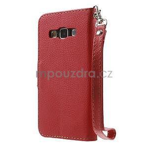 Červené/hnedé kožené puzdro pre Samsung Galaxy A3 - 5