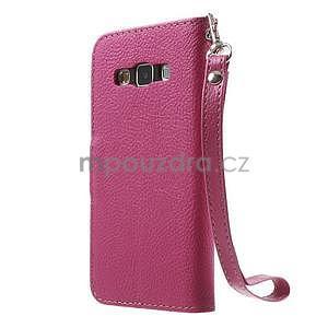 Rose/hnedé kožené puzdro na Samsung Galaxy A3 - 5