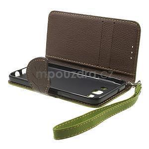Zelené/hnedé kožené puzdro na Samsung Galaxy A3 - 5