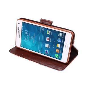 Kvetinové peňaženkové puzdro pre Samsung Galaxy A5 - modré - 5