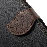 Čierné/hnedé kožené puzdro na Samsung Galaxy A5 - 5/7