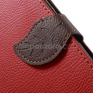 Červené/hnedé kožené puzdro na Samsung Galaxy A5 - 5