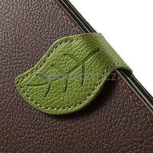 hnedé/zelené kožené puzdro pre Samsung Galaxy A5 - 5